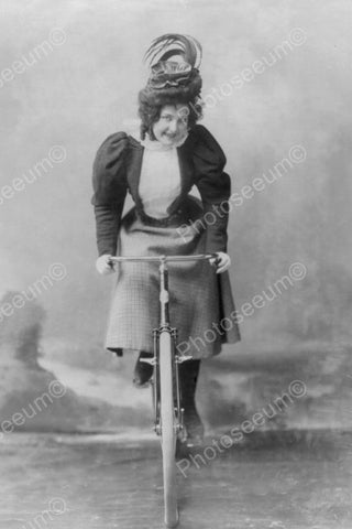 Victorian Lady In Skirt Rides Bicycle! 4x6 Reprint Of Old Photo