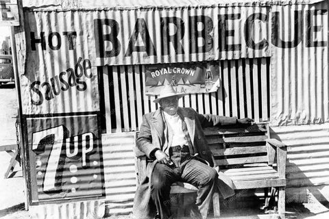 Black Man Sits On Bench At Barbecue Hut 8x12 Reprint Of Old Photo