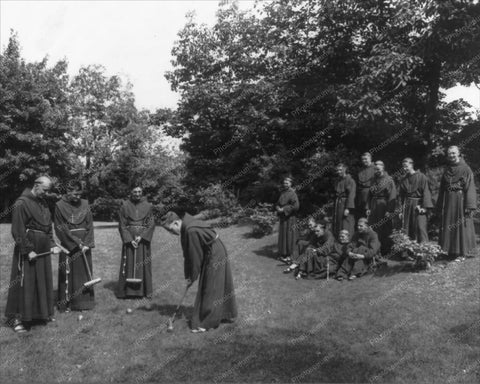 Victorian Monks  Play Croquet Vintage 8x10 Reprint Of Old Photo