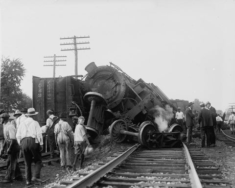 Train Derailment 1922 Vintage 8x10 Reprint Of Old Photo - Photoseeum