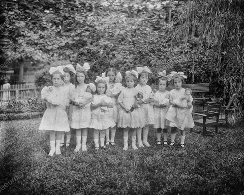 Girls Playing With Dolls 1913 Vintage 8x10 Reprint Of Old Photo - Photoseeum