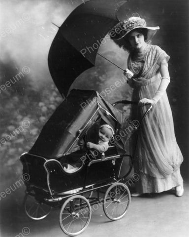 Victorian Mom & Baby In Antique Carriage 8x10 Reprint Of Old Photo