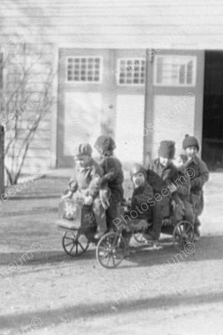 Victorian Children Ride Antique Wagon! 4x6 Reprint Of Old Photo