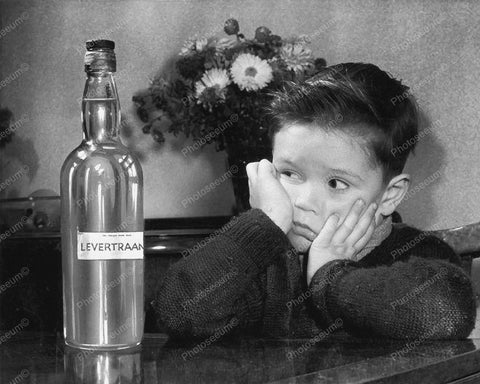 Child Not Happy About Taking Cod Liver Oil Vintage 8x10 Reprint Of Old Photo