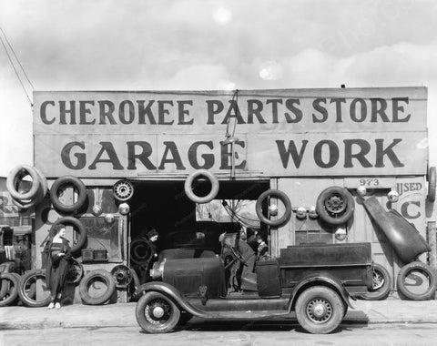 Cherokee Automobile Parts Garage March Vintage 1930s 8x10 Reprint Of Old Photo
