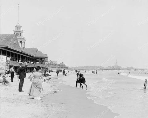 Bathing Beach Pier 1910 Vintage 8x10 Reprint Of Old Photo