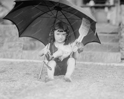 Cute Girl With Doll Under Umbrella 1920s Old 8x10 Reprint Of Photo