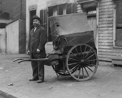 Street Piano Player Pulling Barrel Piano 8x10 Reprint Of Old Photo