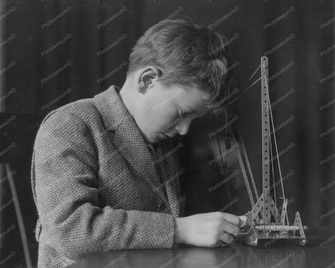 Boy Concentrates On Meccano Set 1920s 8x10 Reprint Of Old Photo