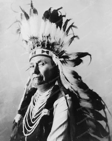 Chief Joseph Indian In Headdress Vintage 8x10 Reprint Of Old Photo