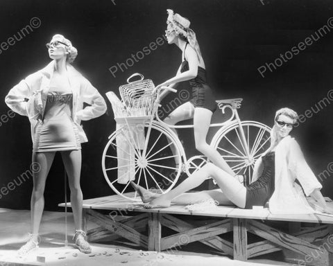Fashion Mannequins With Bike In Vintage Window 8x10 Reprint Of Old Photo