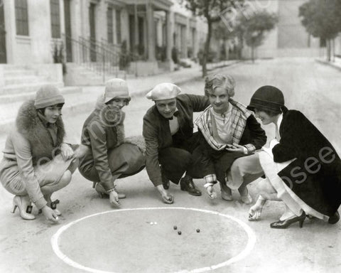 Group Of People Playing Marble Game Vintage 8x10 Reprint Of Old Photo
