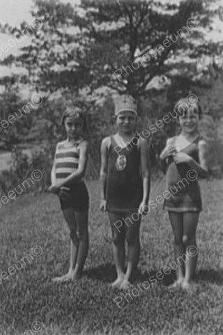 Young Girls In Vintage Bathing Suits 1900 4x6 Reprint Of Old Photo