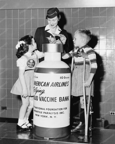 American Airlines Stewardess Vaccine Bank 8x10 Reprint Of Photo