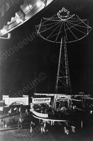 Glen Echo Amusement Park Night View 1920s 4x6 Reprint Of Old Photo
