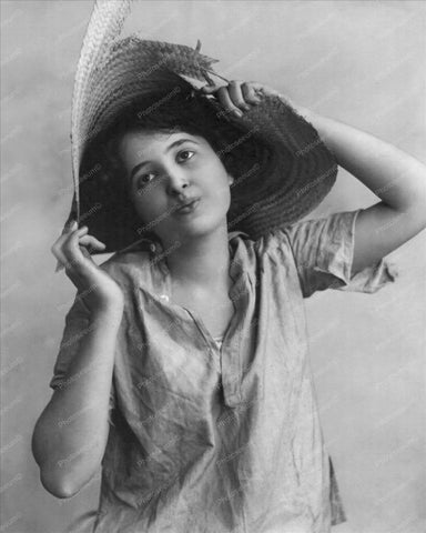 Victorian Lady Posing In Straw Hat 1900s 8x10 Reprint Of Old Photo
