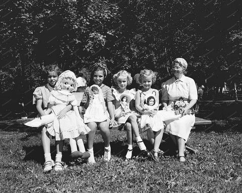Girls Pose With Dolls Vintage 8x10 Reprint Of Old Photo
