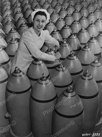 Woman Ties Plugs On Aerial  Bombs Vintage 1940s Reprint 8x10 Old Photo