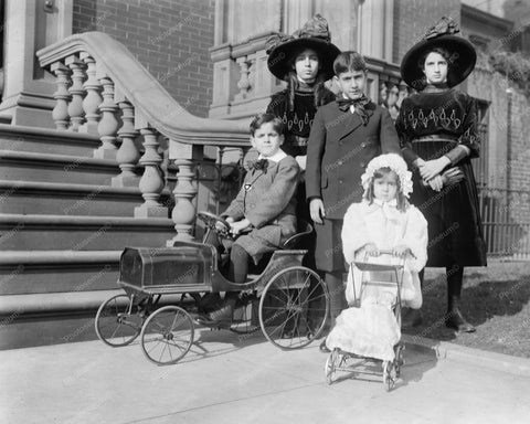 Children Family Portrait with Pedal Car 8x10 Reprint Of Old Photo