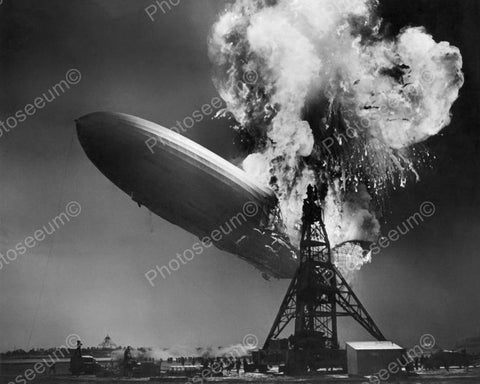 Zeppelin The Hindenburg On Fire Vintage 8x10 Reprint Of Old Photo - Photoseeum