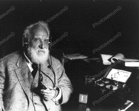 Alexander Graham Bell Using Radio 8x10 Reprint Of Old Photo - Photoseeum