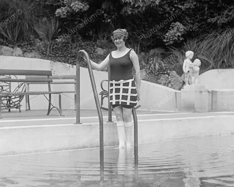 Checkered Square Bathing Suit 1924 Vintage 8x10 Reprint Of Old Photo