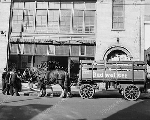 Horse Drawn Budweiser Beer Wagon 8x10 Reprint Of Old Photo - Photoseeum