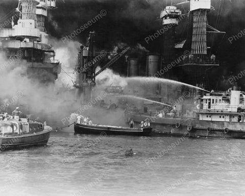 Fire Boats 1941 Vintage 8x10 Reprint Of Old Photo