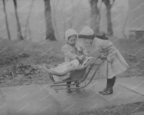 Girls Play Dolls Antique Baby Carriage 8x10 Reprint Of Old Photo