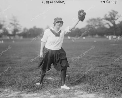 Woman Baseball Player 1918 Vintage 8x10 Reprint Of Old Photo