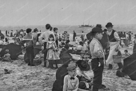 Coney Island Familes On Beach 1900s 4x6 Reprint Of Old Photo