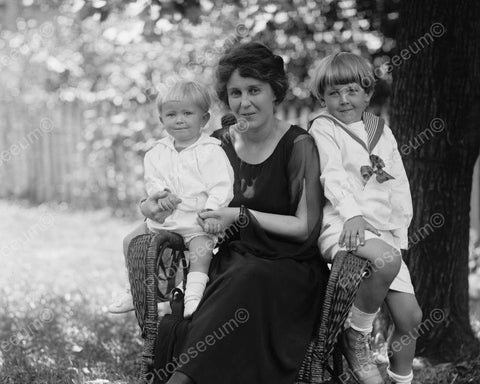 Beautiful Mother & Children Portrait  8x10 Reprint Of Old Photo