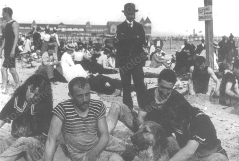 Atlantic City Crowded Beach Scene 4x6 1900s Reprint Of Old Photo