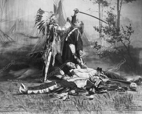 Death Of General Custer Viintage 8x10 Reprint Of Old Photo