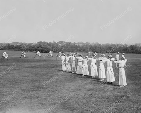 Archery Contest Ladies In Skirts 1900s 8x10 Reprint Of Old Photo