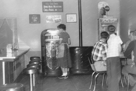 Diner Waitress Jukebox & Palm Beach Pinball Vintage 8x10 Reprint Of Old Photo