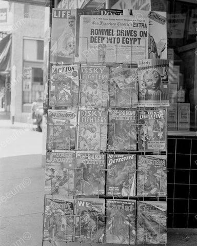 Comic Book And Magazine Rack 1942 Vintage 8x10 Reprint Of Old Photo