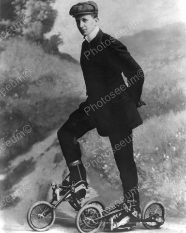 Young Man On Pedal Roller Skates Vintage 8x10 Reprint Of Old Photo - Photoseeum