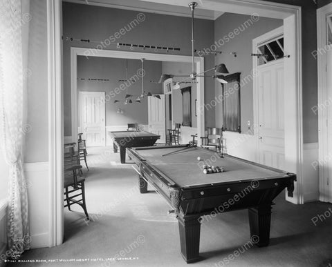 Billard Room Lake George NY 1910 Vintage 8x10 Reprint Of Old Photo