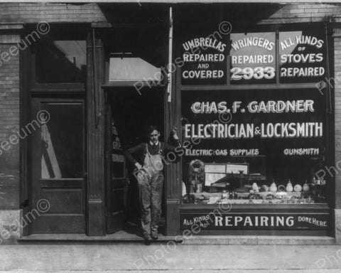 Electrician/Locksmith Poses Store Front 8x10 Reprint Of Old Photo - Photoseeum