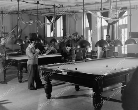 Australian Soldiers Play Billiards 1940s 8x10 Reprint Of Old Photo