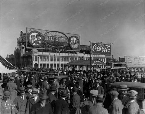 Atlantic City Coke & Lucky Strike Billboard 8x10 Reprint Of Old Photo - Photoseeum
