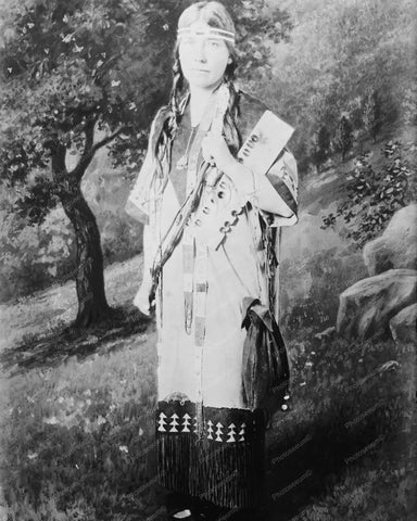 American Indian Lady Portrait Vintage 8x10 Reprint Of Old Photo