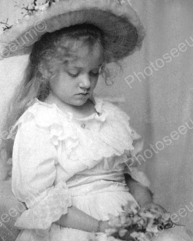 Wistful Young Girl In Hat & Flowers 1800 8x10 Reprint Of Old Photo