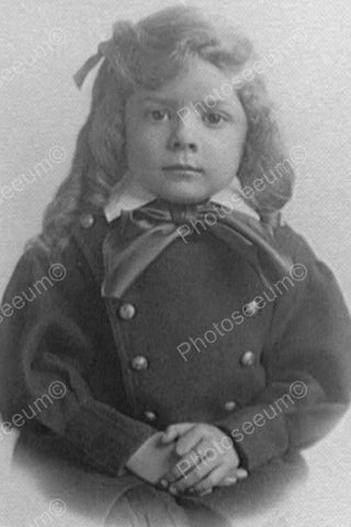 Victorian Little Girl Curls & Bow Classic 4x6 Reprint Of Old Photo