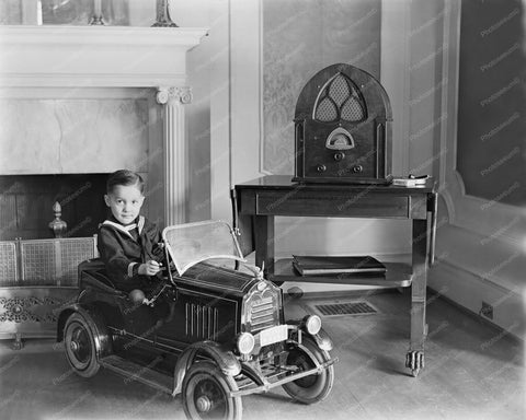 Sailor Boy Sits In Pedal Automobile1920s 8x10 Reprint Of Old Photo