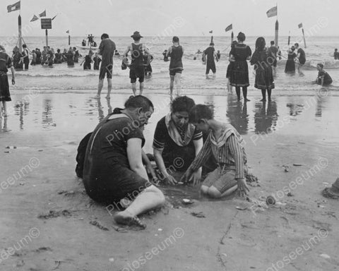 Coney Island Beach Swim & Sand Fun! 8x10 Reprint Of Old Photo