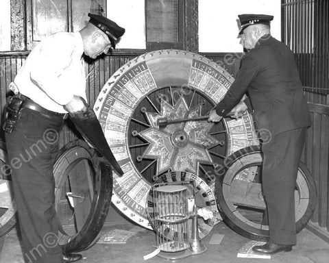 Gaming Wheel Of Chance Police Saw & Axe Goods Vintage 8x10 Reprint Of Old Photo