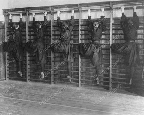 Dancers Climb Exercise Wall! 8x10 Reprint Of Old Photo
