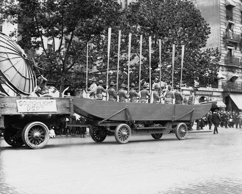 Army Rowing Team Float 1919 Vintage 8x10 Reprint Of Old Photo
